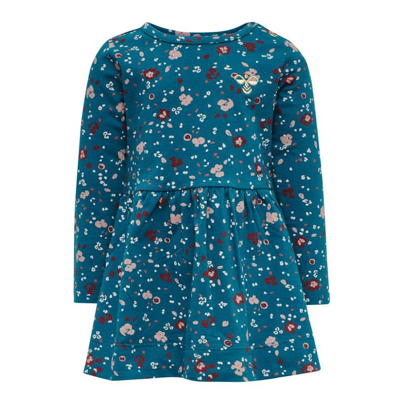 Hummel langærmet kjole – Flora blå koral 74